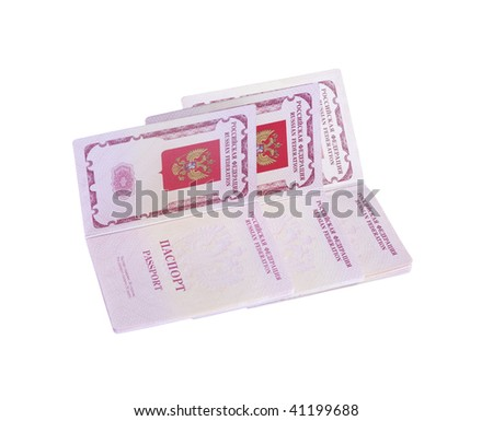 Three russian passports on white isolated background