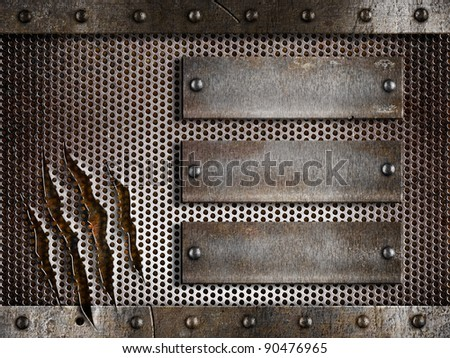 three rusty plates over metal holed or perforated grid background - stock photo
