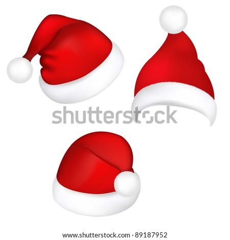 Three Santa Hats, Isolated On White Background - stock photo