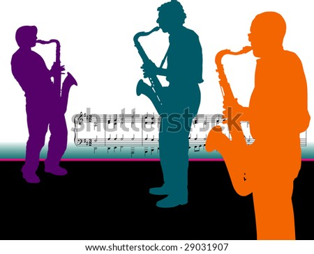 Three Sax Players - stock photo