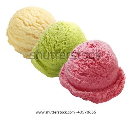 Three scoops of green tea, strawberry and vanilla ice cream - stock photo