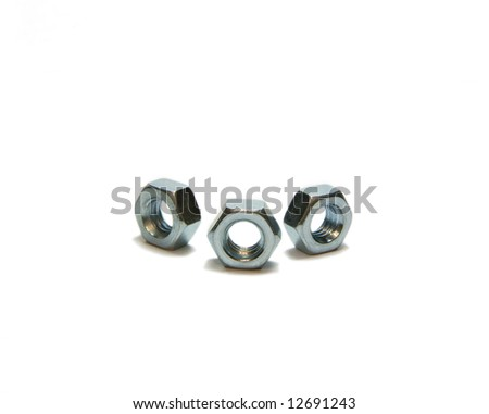 Three scre nuts, isolated, white, close-up, semicircle