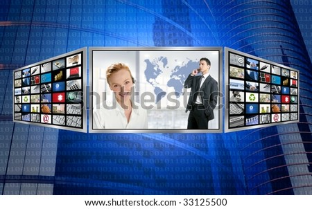 Three screen monitor, business world tech communication [Photo Illustration]
