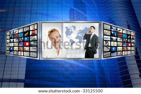 Three screen monitor, business world tech communication [Photo Illustration] - stock photo