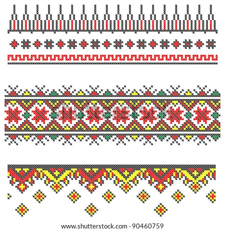 three seamless embroidered good like handmade cross-stitch ethnic Ukraine pattern. Raster version over 20MPx - stock photo