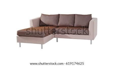 double leather sofa isolated white background stock illustra