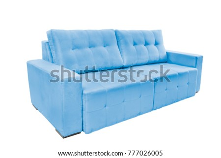 Three seats cozy fabric sofa isolated on white background