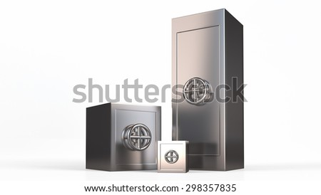 Three security metal safes near each other.