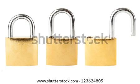 Three security padlocks isolated on white background - stock photo