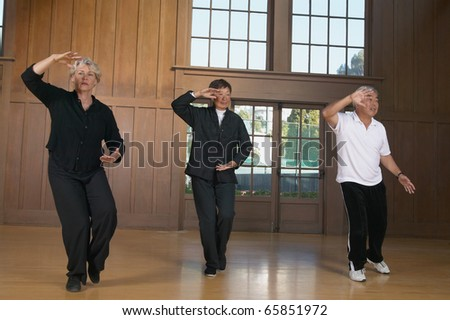 Three seniors practicing Tai Chi indoors - stock photo
