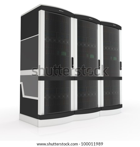 three server racks with on white background - stock photo