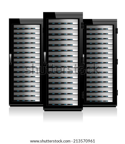 Three Servers - Server in Cabinets - Raster Version - stock photo