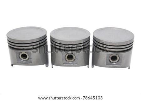 three set of automotive piston on isloated whitebackground - stock photo
