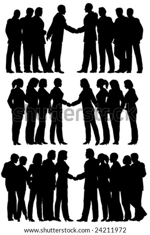 Three sets of silhouettes of business groups meeting (vector file also available)