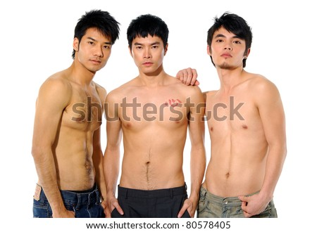 Three Sexy muscular man - stock photo