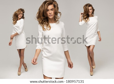 Three sexy woman in white dress - stock photo