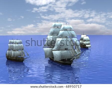 three ships in the sea - stock photo