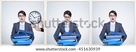 Three shots of woman stressed by course of time with hands full of blue binders