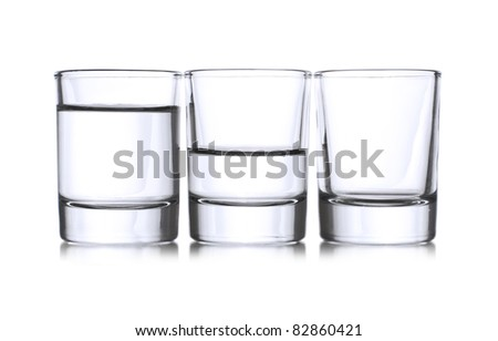 Three shots with liqueur,full,half,empty - stock photo