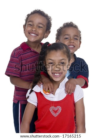 Three siblings happy and smiling. Love and bonding. Family - stock photo