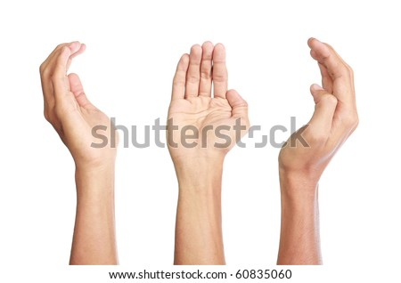 three side of hand gestures set, isolated in white background - stock photo