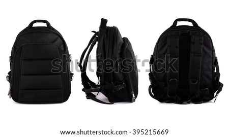 three sides of black backpack isolated on white