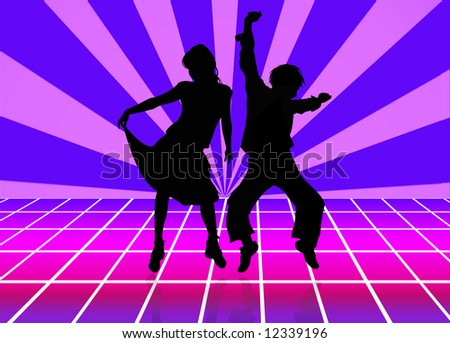 three silhouettes of dancing people over sun background - stock photo