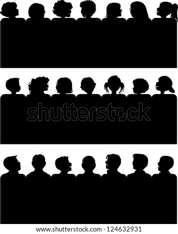 Three Silhouettes of Male, Female, and Child Audiences. - stock photo