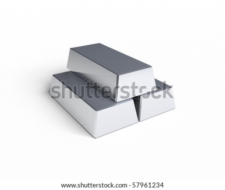 three silver bars - stock photo
