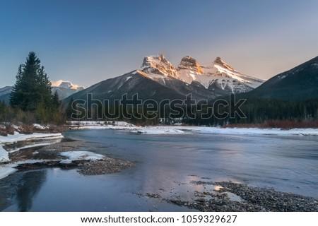 stock-photo-three-sister-mountain-during