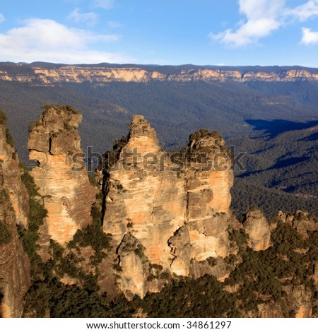 Three Sisters, Katoomba, Blue Mountains, New South Wales, Australia, in sunset light. - stock photo