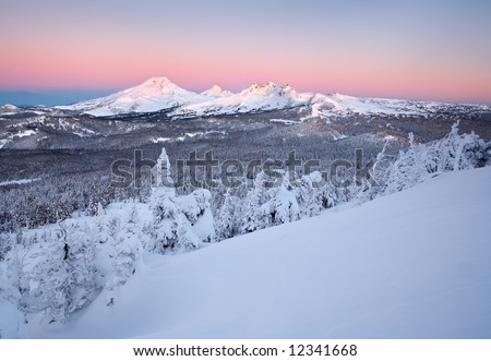 Three Sisters Mountain Wilderness Winter - stock photo