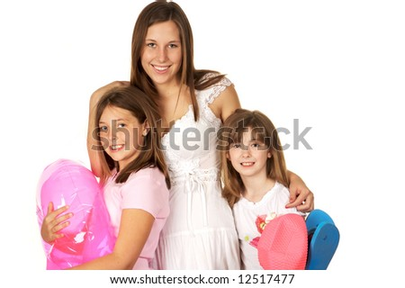 Three Sisters off to the beach - stock photo