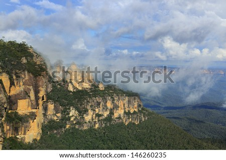 Three Sisters Rock Formation - Australia - stock photo