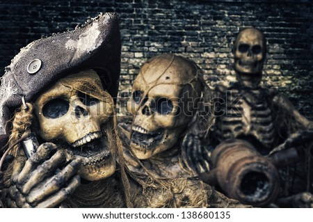 Three Skeleton Pirates Portrait - stock photo