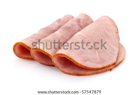 Three slices of baked ham - stock photo
