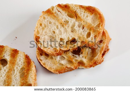 Three Slices of Grill Toasted Bread - stock photo