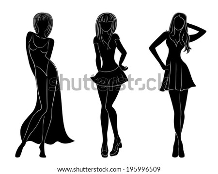 Three slim attractive women black silhouettes with white contours, hand drawing artwork - stock photo