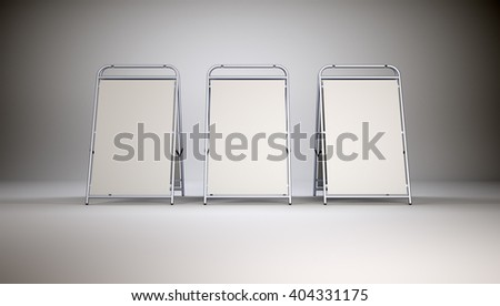 Three small blank stands on grey wall background. 3D rendering