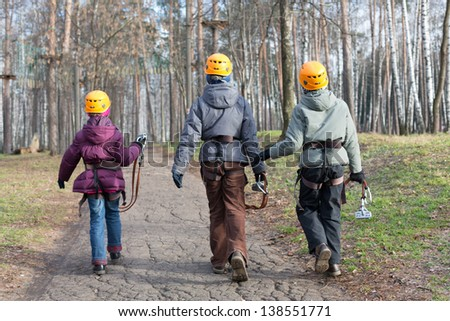 Three small climber go to the place of trial - stock photo