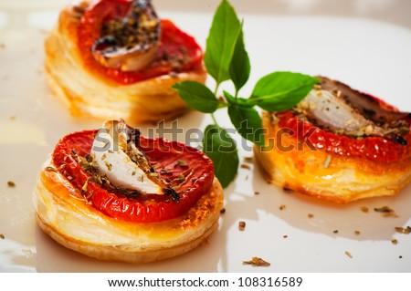 Three small mini pizzas as finger food - stock photo