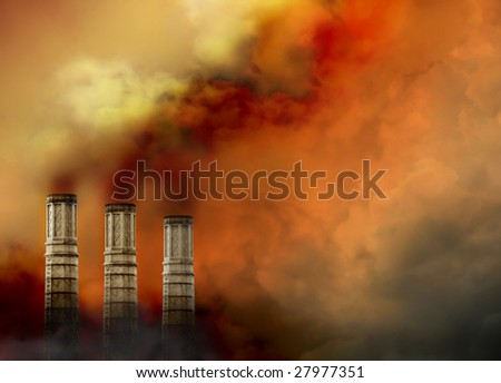 Three smoke stags have pollution smoke coming out of the tops and there is a lot of smoke surrounding them. - stock photo