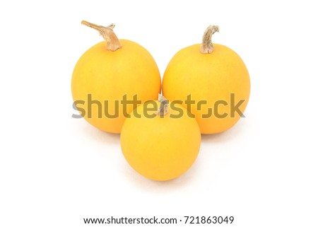 Three smooth-skinned orange ornamental gourds, isolated on a white background