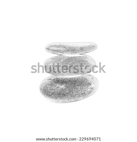 Three smooth stones on each other isolated over white background .Monochrome drawing. - stock photo