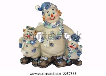 Three snowmen - stock photo
