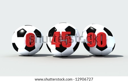 three soccer ball with due deformations to the to flow some minutes -3d rendering