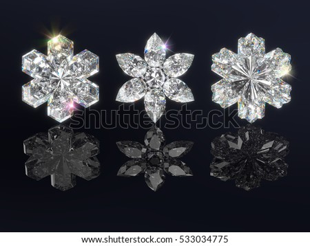 Three sparkling diamond snowflakes with reflections on black background. Photo-realistic 3d computer-generated image