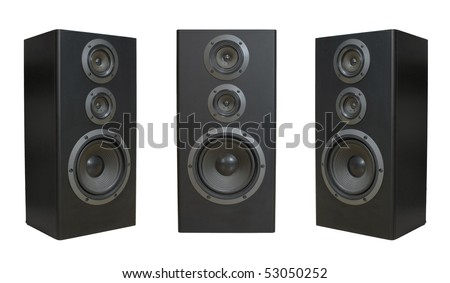 Three speaker side and front view isolated on white background
