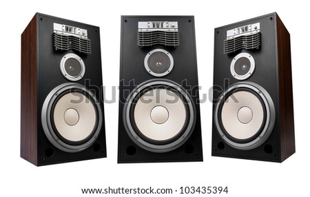 three speakers on white background