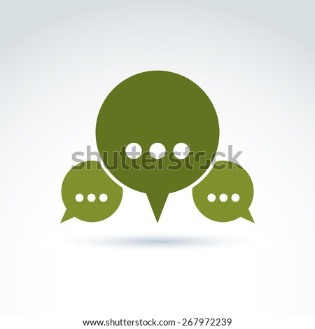 Three speech bubbles with dots, forum and discussion symbol isolated on white background, call center icon.  - stock photo